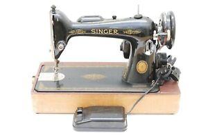 Antique Vintage SINGER Model 66 Sewing Machine AL Series - 1953 w/ Case, WORKS