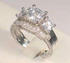 3 Ct Princess Trilogy Diamond Engagement Ring Vintage Bridal set White Gold