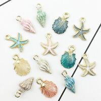 13x Conch Sea Shell Starfish Pendant Craft Charm Jewelry Accessories Making DIY