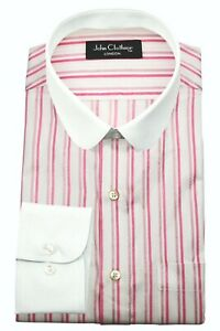 Pink White Stripes Penny Round Baby Collar Mens Peaky Blinders Club Shelby Shirt
