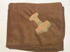 Thors Hammer Gold on Brown Design Fleece Blanket