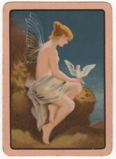 Playing Cards 1 Swap Card - Antique English Wide WINGED FAIRY + WHITE DOVE BIRD