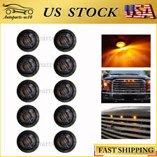 "10x 3/4"" Smoked Amber 3 LED Universal Auto Marker Grille Lighting Kit"