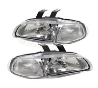Fit 92-95 Honda Civic 4 Dr 1 Piece Chrome Housing Headlight Clear Lens/Reflector