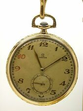VINTAGE OMEGA OPEN FACE POCKET WATCH 14K GOLD CASE GREAT WATCH - 9C