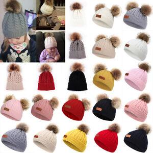 Baby Girls Toddler Kids Warm Knitted Pom Pom Bobble Hat Beanie Caps Winter Xmas