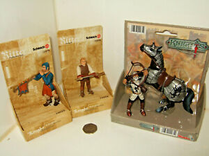 Schleich -Ritter, World of Knights Squire & Herald & Simba Mounted Archer.