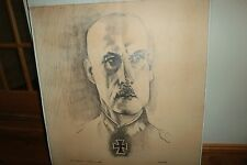 WW2 German Field Marshall Wilhelm Von Leeb Drawing-1970s-Israel Louis Winarsky