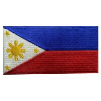 Embroidered Patch Iron Sew On Patches transfers applique Philippines Nation Flag