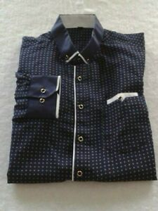 Men's Long Sleeve Button Down Mini Star Print Shirt In Navy Size Medium Slim