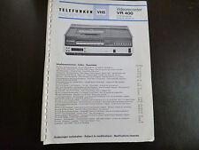 Original Service Manual Telefunken Videorecorder VR 400