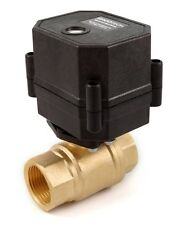 "3/4"" NPT Motorized Ball Valve Brass 9 V, 12 to 24 VDC/VAC 2-wire Normally OPEN"