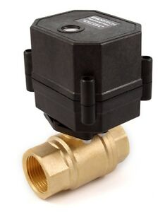 "3/4"" NPT Motorized Ball Valve N/O 110/120/220/240 VAC 2-wire Normally Open Brass"