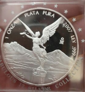 2007 Mexico 1 onza Libertad Liberty KM#639 Silver Proof , a KEY mintage!!!!