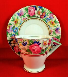 PALISSY WARE Cup and Saucer FLORAL CHINTZ China ART DECO Vintage RARE