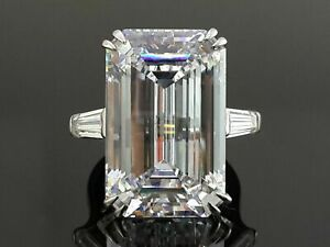 Solid 925 Sterling Silver Ring  White Emerald Baguette Three Stone CZ