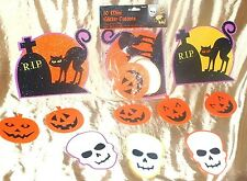 Amscan Glitter Halloween Cutouts- 10ct Cats Moon Tombstones skulls