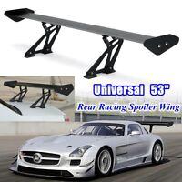 Adjustable 53'' GT Rear Car Trunk Brackets Spoiler Wing Aluminum Racing Black
