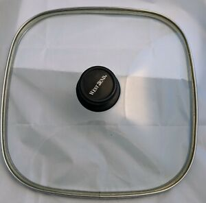 """WEST BEND 12"""" Square Clear Glass Lid Tempered Electric Skillet Stainless Edges"""