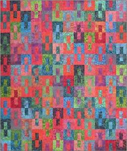 "Gemini Quilt Kit, Pattern, Batik Fabric for Top & Binding DIY Quilting 72"" x 84"""