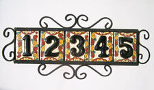 5 BLACK Mexican Tiles House Numbers High Relief & Horizontal Frame