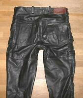 "Arizona By Louis Lace-Up Leather Jeans Biker IN Black Approx. W32 "" / L36 """