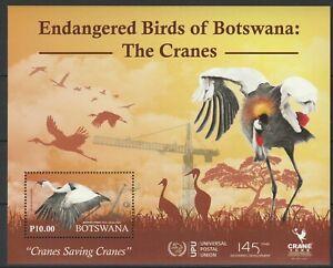 Botswana 2019 Birds Cranes MNH Block UPU overprint