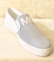 Women MK Michael Kors Keaton Lasered Slip On Sneakers Leather Optic White/silver