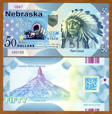 USA States, Nebraska, $50, Polymer, ND (2019), UNC > Chief Red Cloud