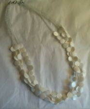 Multi Strand Creamy Mother of Pearl and Clear Sead Beads Necklace 22""