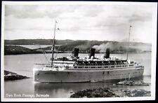 Bermuda~1940's Ship Monarch Of Bermuda~Two Rock Passage~Rutherford & Gorham Rppc