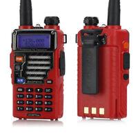 2x Baofeng UV-5R Plus Qualette Series Red 2m/70cm Band VHF UHF Ham Two-Way Radio