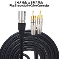 1PC 3M XLR TO 2 RCA MALE PLUG STEREO AUDIO CABLE CONNECTOR Y SPLITTER WIRE CORD