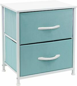 Nightstand with 2 Drawers  Bedside Furniture & Accent End Table Chest for Home