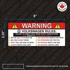 VOLKSWAGEN sticker Warning rules Funny vinyl decal autocollants stickers Volks