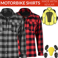 Motorbike Motorcycle Shirt Flannel Biker Armour Made With KEVLAR Aramid Protect