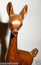 Vintage Wooden or plastic DEER Figurine Made in Italy w/ Red Rhinestone Eyes