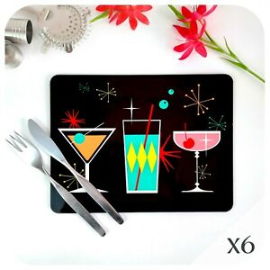 Cosmic Cocktails Placemats X6, Retro Table Mats, Atomic Mid Century Place Mats