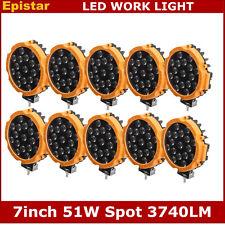 10pcs 7inch 51W LED Work Light Spot Jeep Truck ATV Driving Round Yellow Slim