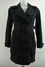 NOA NOA Women Design Long Coat Collared Black Lined Belt 100% Cotton Size XS