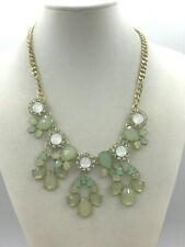 Fashion Necklace Acrylic Pale Greens Crystal Rhinestone Runway Statement Gold