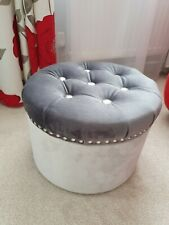 Round Velvet Padded Pouffe Footstool Seating stool Handicraft color grey/silver