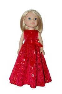 """Long Dress handmade to fit 14"""" Wellie Wishers Doll Clothes by TKCT Red Stars"""