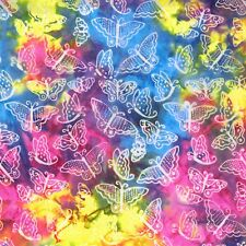 Small Butterflies-Fresh Batiks-Clothworks-Batik Menagerie-Blue, Pink, Yellow