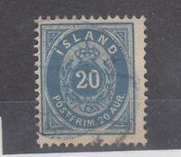Iceland 1876 20 Aur Blue SG32 VFU JK1993
