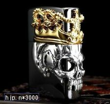 New Zippo Skull King Black & Gold Collectible Beautiful lighter Japan F/S