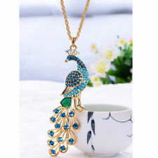 New Gold Blue Rhinestone Peacock Pendant Necklace Chain