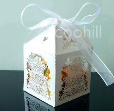 50pcs Laser Cut Cake Candy Gift Boxes w/Ribbon Wedding Favors Baby shower Boxes