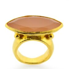 Signed GURHAN Pandora Pink Chalcedony Marquise East West Gemstone Ring 24k