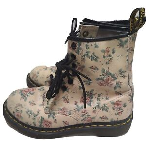DR MARTENS DOC 1460 W Pascal Pink flowers floral Leather Combat Boots Womens 7